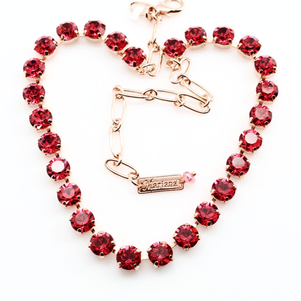 Indian Pink Medium Crystal Necklace in Rose Gold