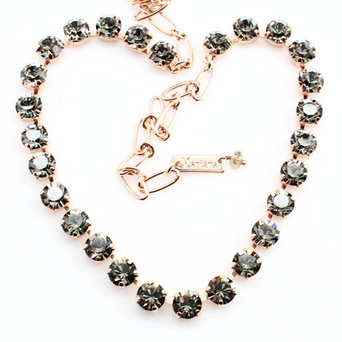 Black Diamond Medium Crystal Necklace in Rose Gold