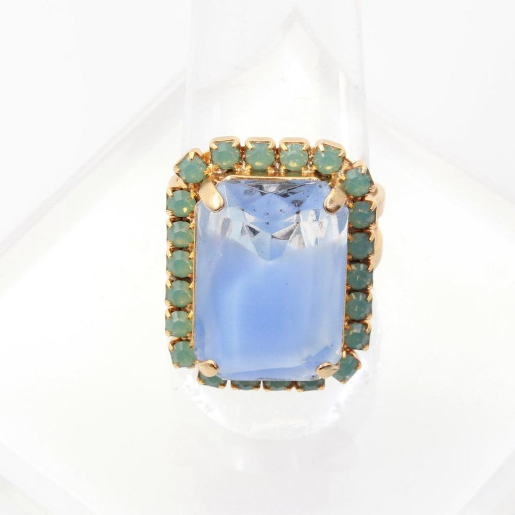 Large Rectangular Blue Givre Crystal Ring in Yellow Gold