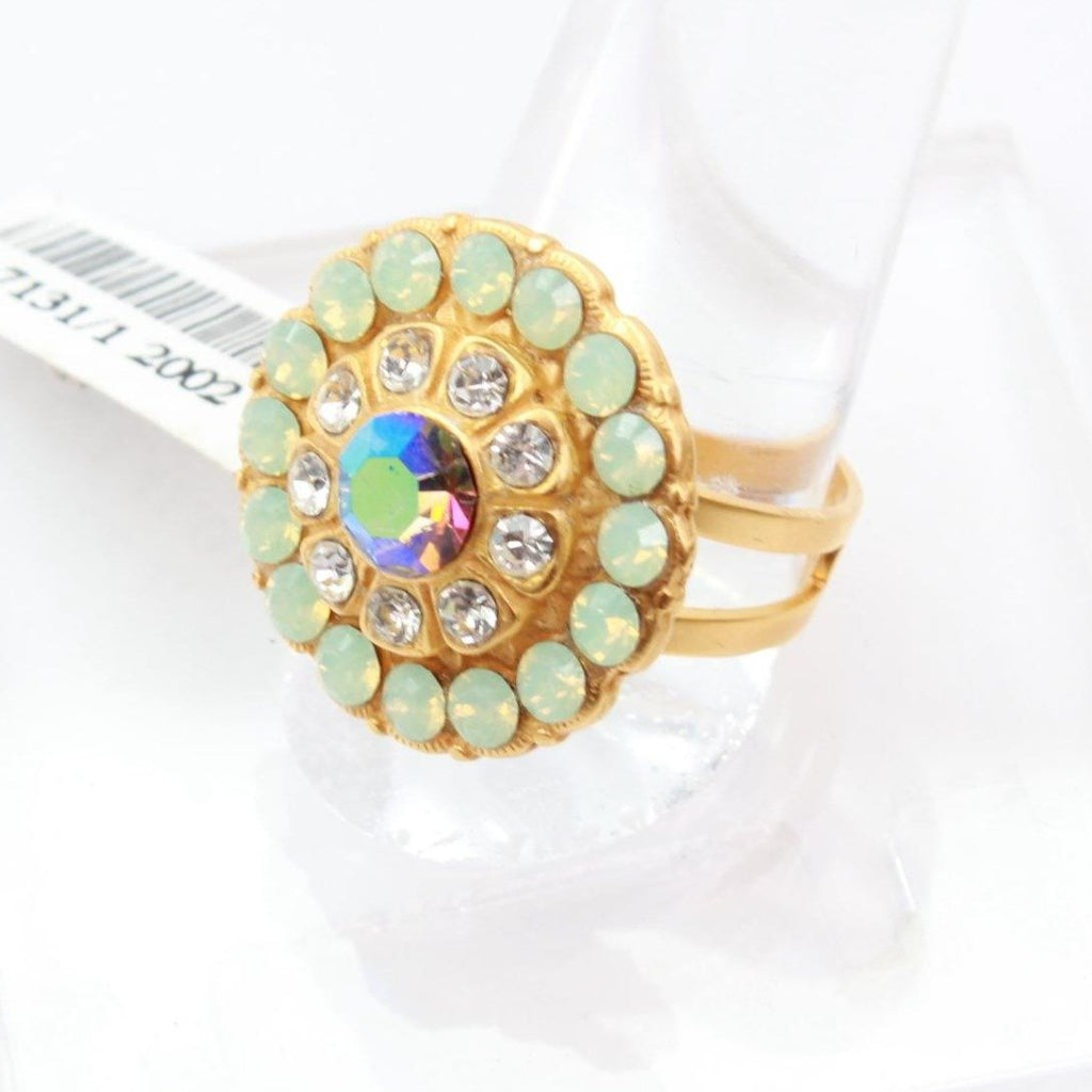 Bay Breeze Round Crystal Ring in Yellow Gold