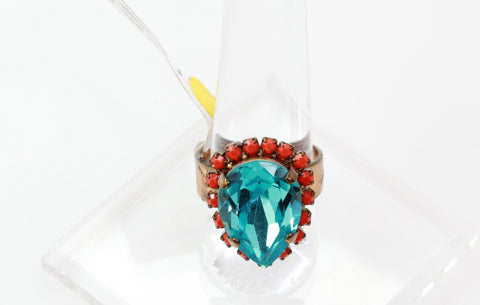 Light Turquoise and Coral Pear Crystal Ring in Brass