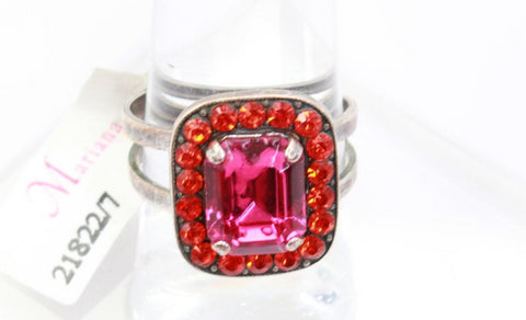 Rectangular Hyacinth and Fuchsia Crystal Ring in Silver