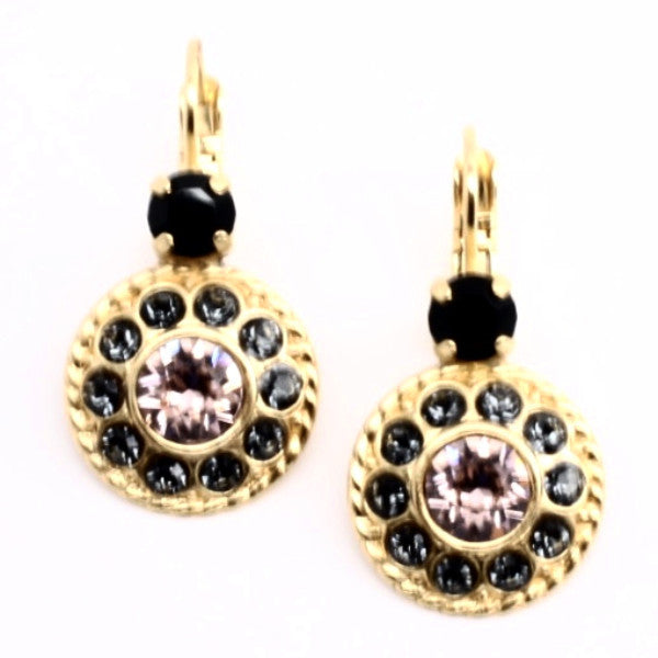 Black Velvet Round w/Black accent Crystal Earrings in Yellow Gold