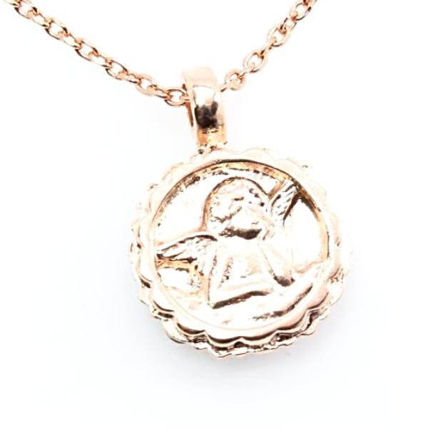 Antigua Collection Guardian Angel Necklace in Rose Gold