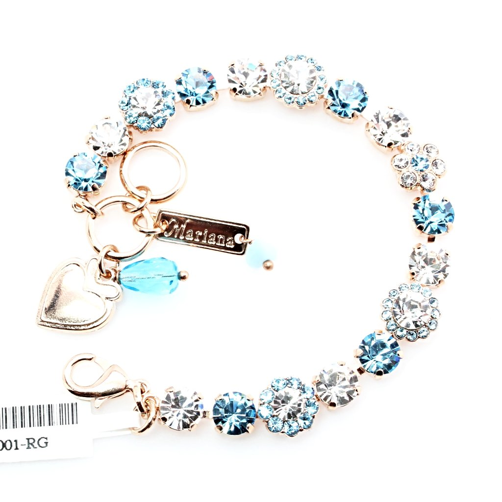 Aquamarine Medium Ornate Crystal Bracelet in Rose Gold