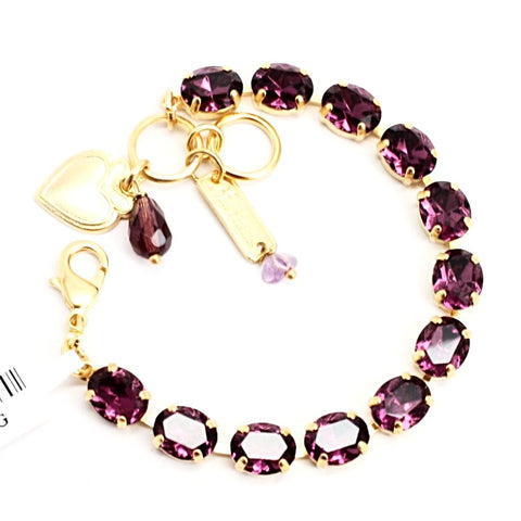 Amethyst Oval Crystal Bracelet in Yellow Gold