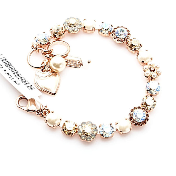 Champagne and Caviar Crystal Flower Bracelet in Rose Gold