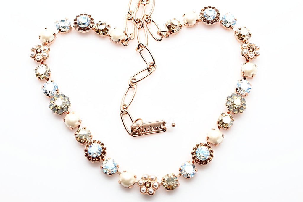 Champagne and Caviar Crystal Flower Necklace in Rose Gold