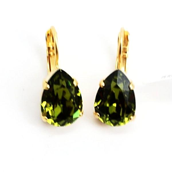 Olivine Pear Crystal Earrings in Yellow Gold