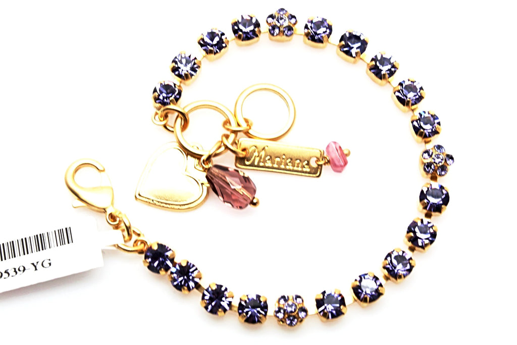 Tanzanite Petite Flower Bracelet in Yellow Gold