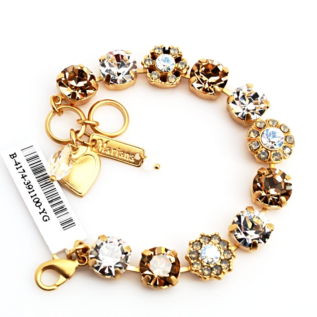 Champagne and Caviar Collection Crystal Bracelet in Yellow Gold