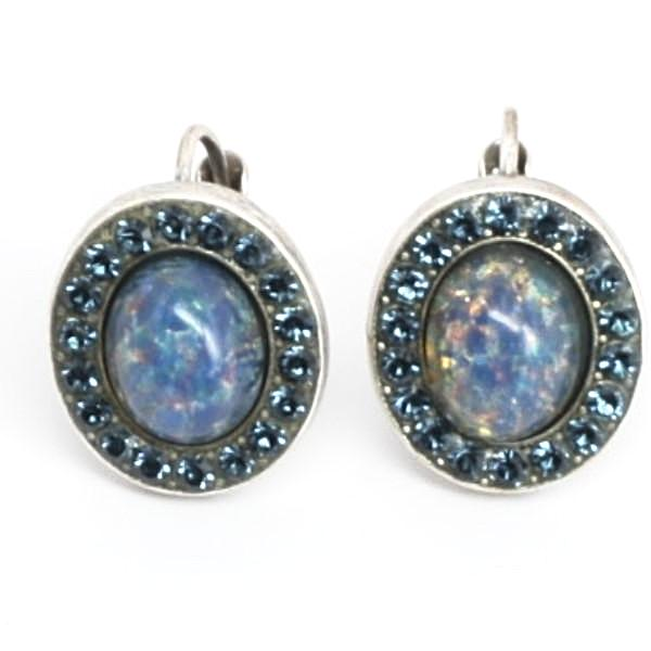 Blue Volcanic Oval Crystal Earrings