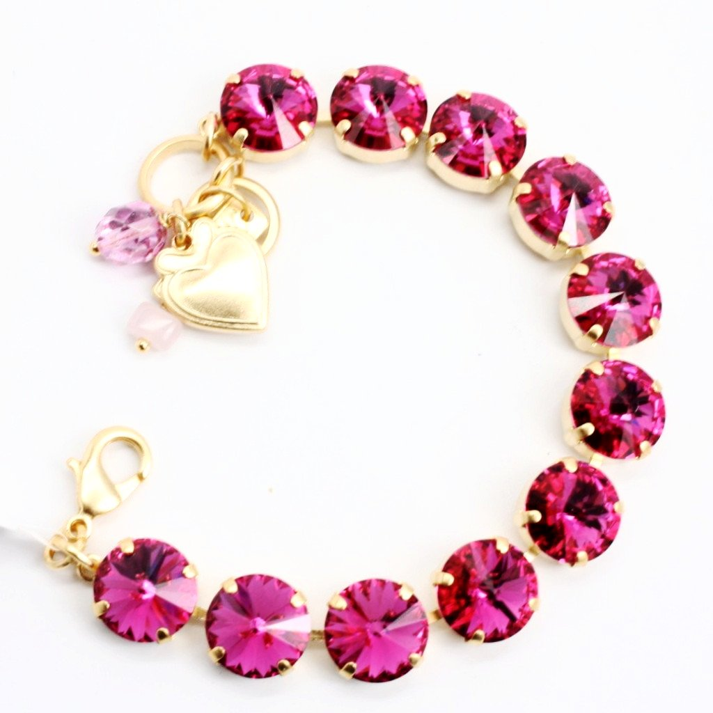 Fuchsia Rivoli Large Crystal Bracelet in Yellow Gold