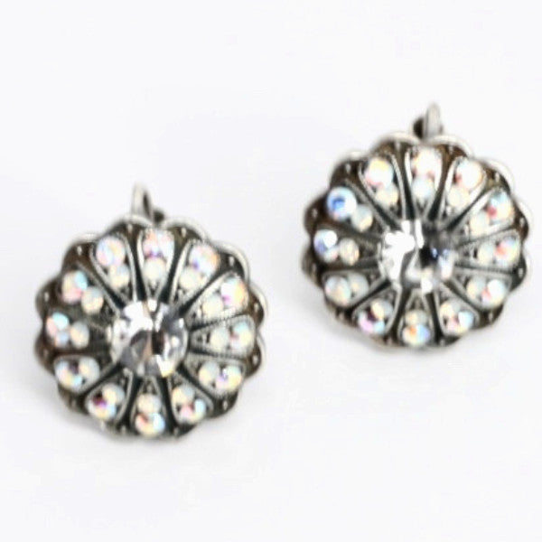 Clear Day Ornate Round Crystal Earrings