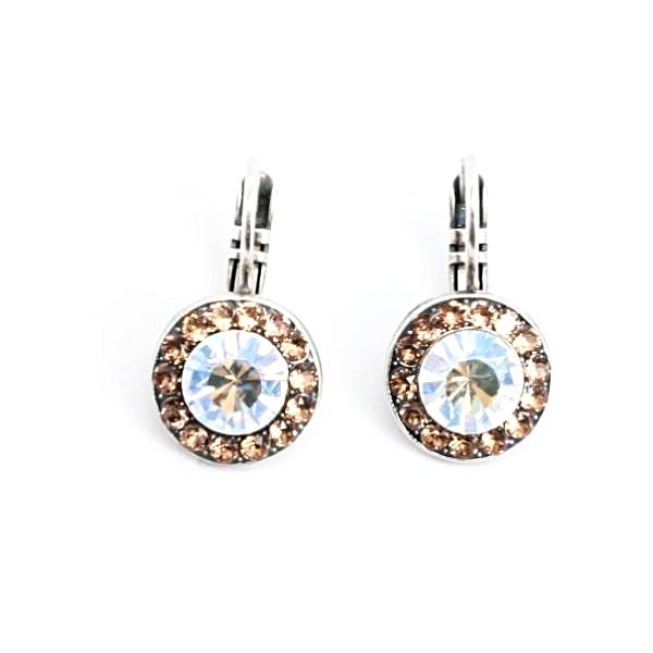 Champagne and Caviar Round Crystal Earrings