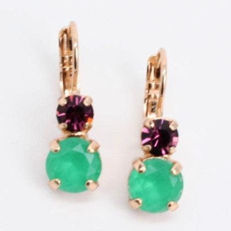 Green and Amethyst Medium Double Crystal Earrings in Rose Gold