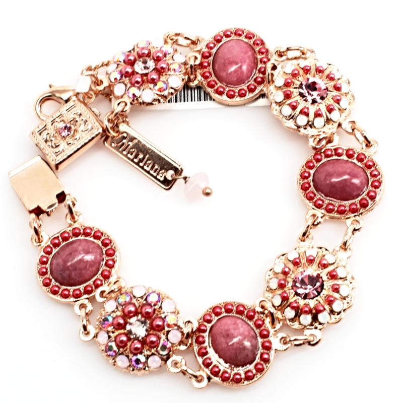 Antigua Ornate Crystal Bracelet in Rose Gold