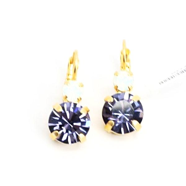 Tanzanite and White Opal Large Double Crystal Earrings in Yellow Gold