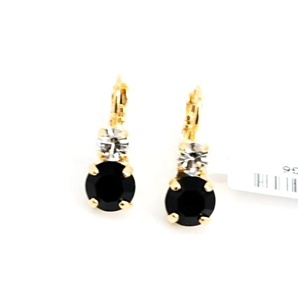 Checkmate Medium Double Crystal Earrings in Yellow Gold