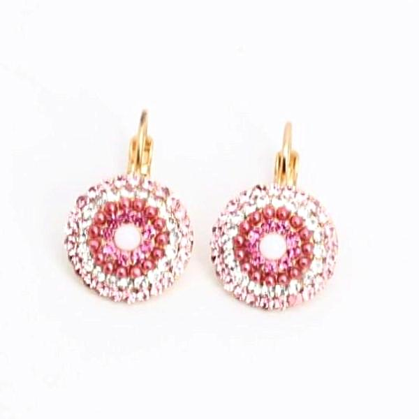 Cherry Blossom Collection Ornate Multi Crystal Earrings in Yellow Gold