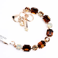 Aphrodite Rectangular and Round Crystal Bracelet in Rose Gold