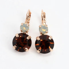 Aphrodite Large Double Crystal Earrings in Rose Gold