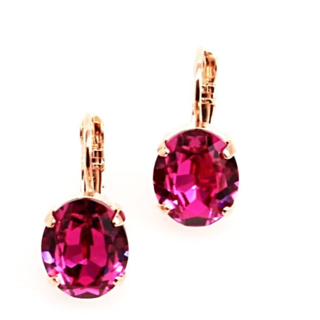 Fuchsia 12MM Oval Crystal Earrings in Rose Gold