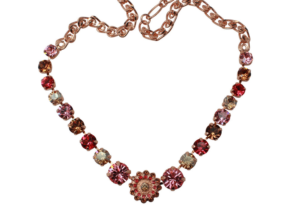 Gingerbread Collection Medium Crystal Center Flower Necklace in Rose Gold