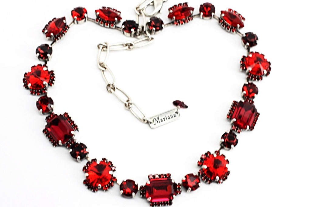 Lady in Red Multi Crystal Necklace