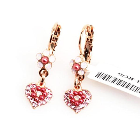 Antigua Collection Tiny Flower and Heart Crystal Earrings in Rose Gold