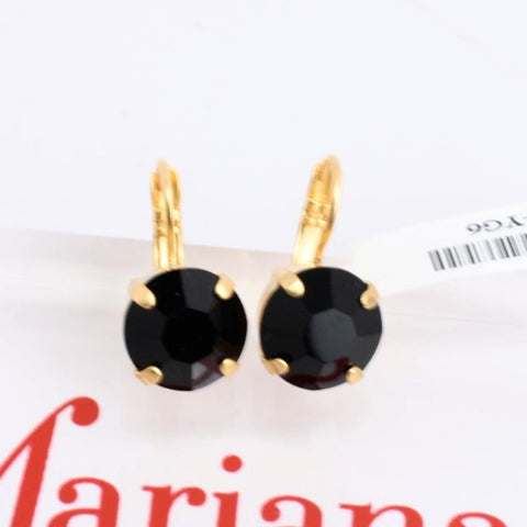 Black Crystal Earrings in Yellow Gold 12MM
