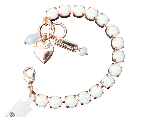 White Opal - Synthetic -Medium Crystal Bracelet in Rose Gold
