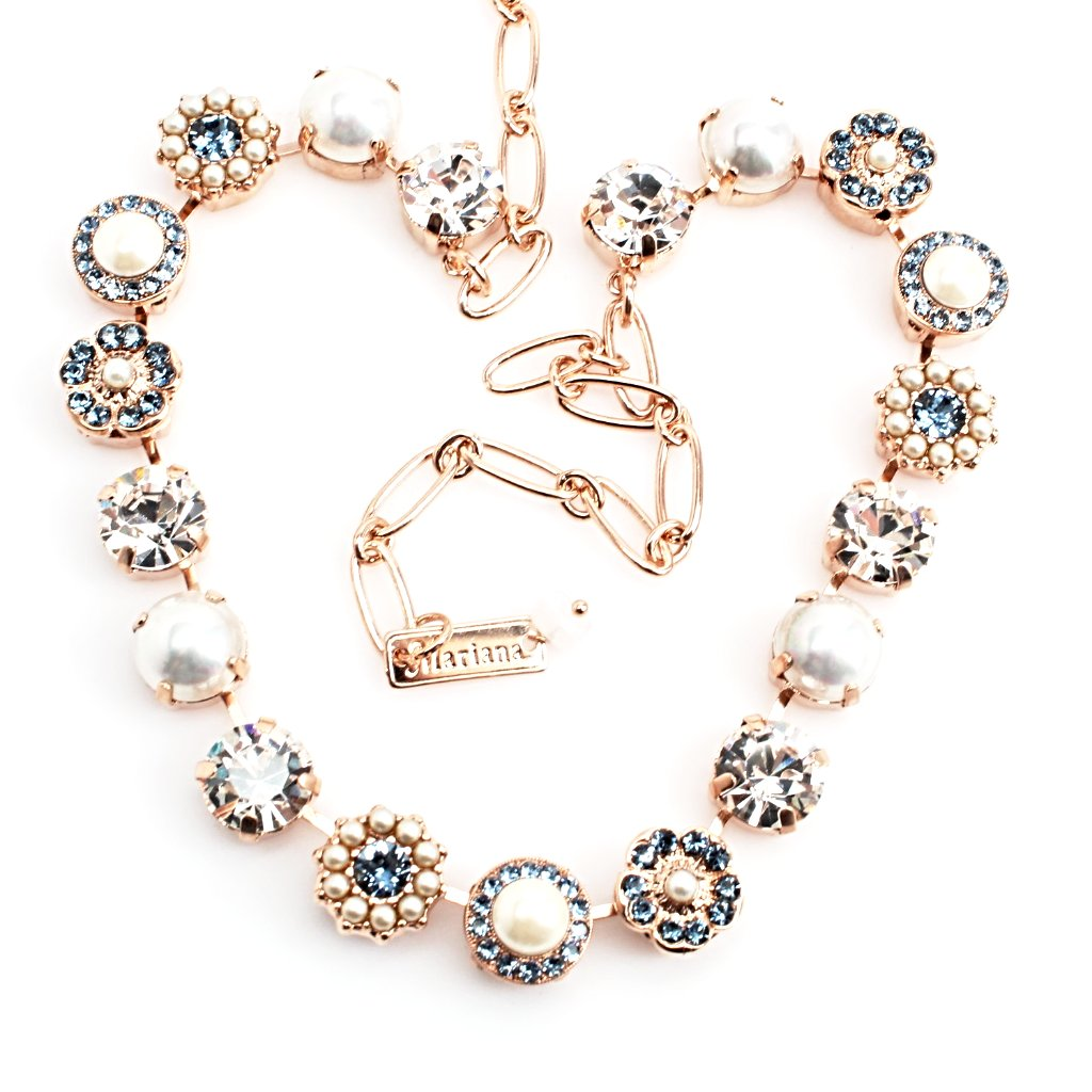 Indian Sapphire and Pearl Crystal Necklace in Rose Gold
