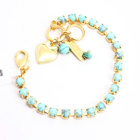 Turquoise Petite Crystal Bracelet in Yellow Gold
