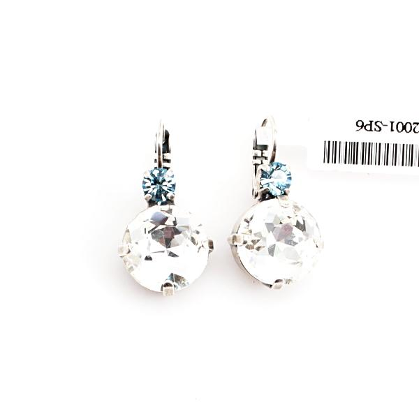 Aquamarine and Clear Large Crystal Earrings