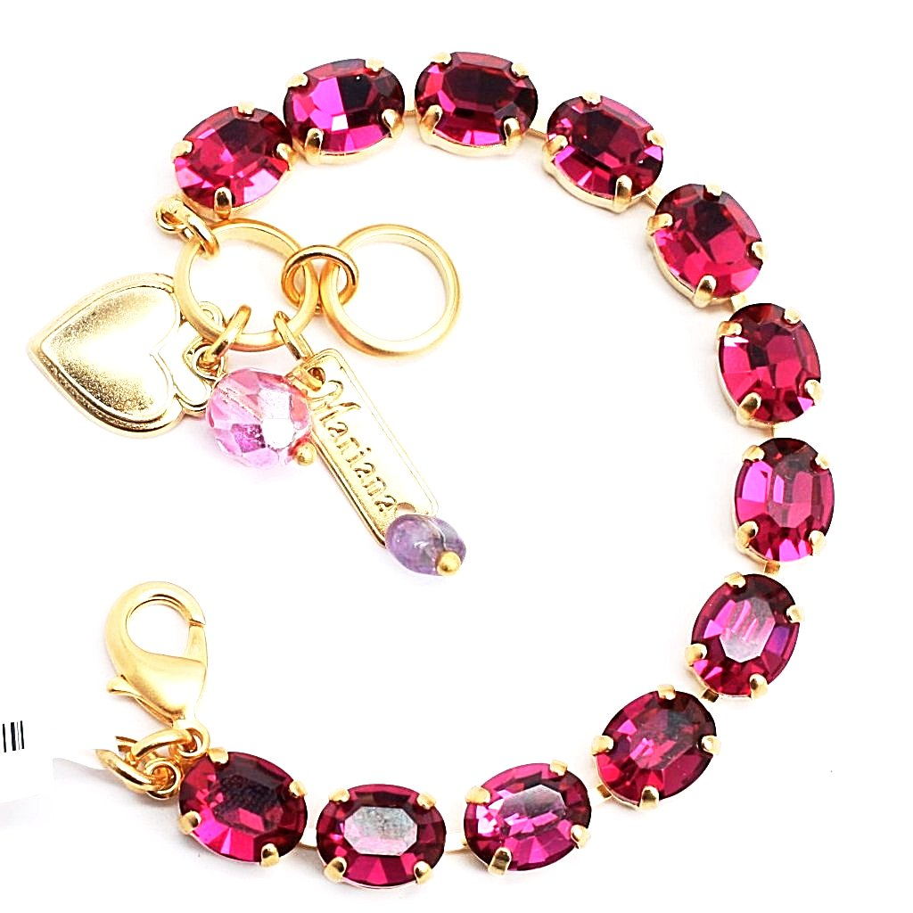 Fuchsia Oval Crystal Bracelet in Yellow Gold