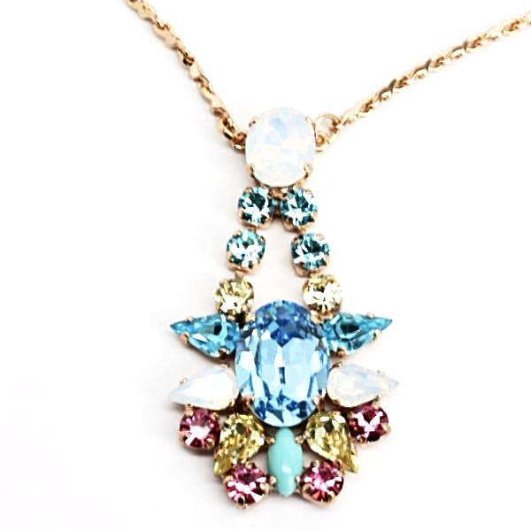 Margarita Pendant Necklace with Blue Sapphire Crystal in Rose Gold