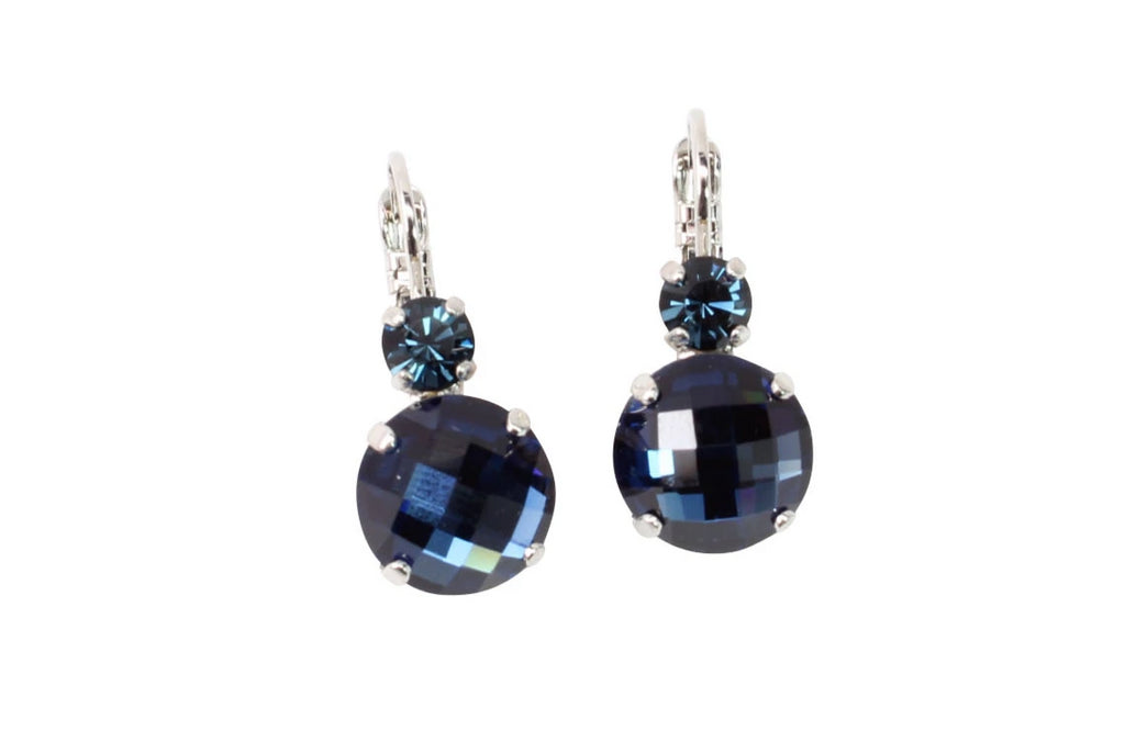 Cobalt Blue Opal Checkerboard Cut Large Double Crystal Earrings