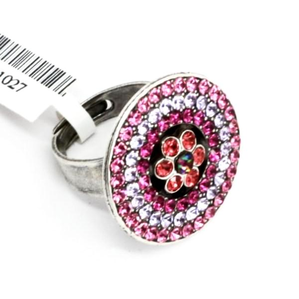 Joy Round Flower Center Crystal Ring