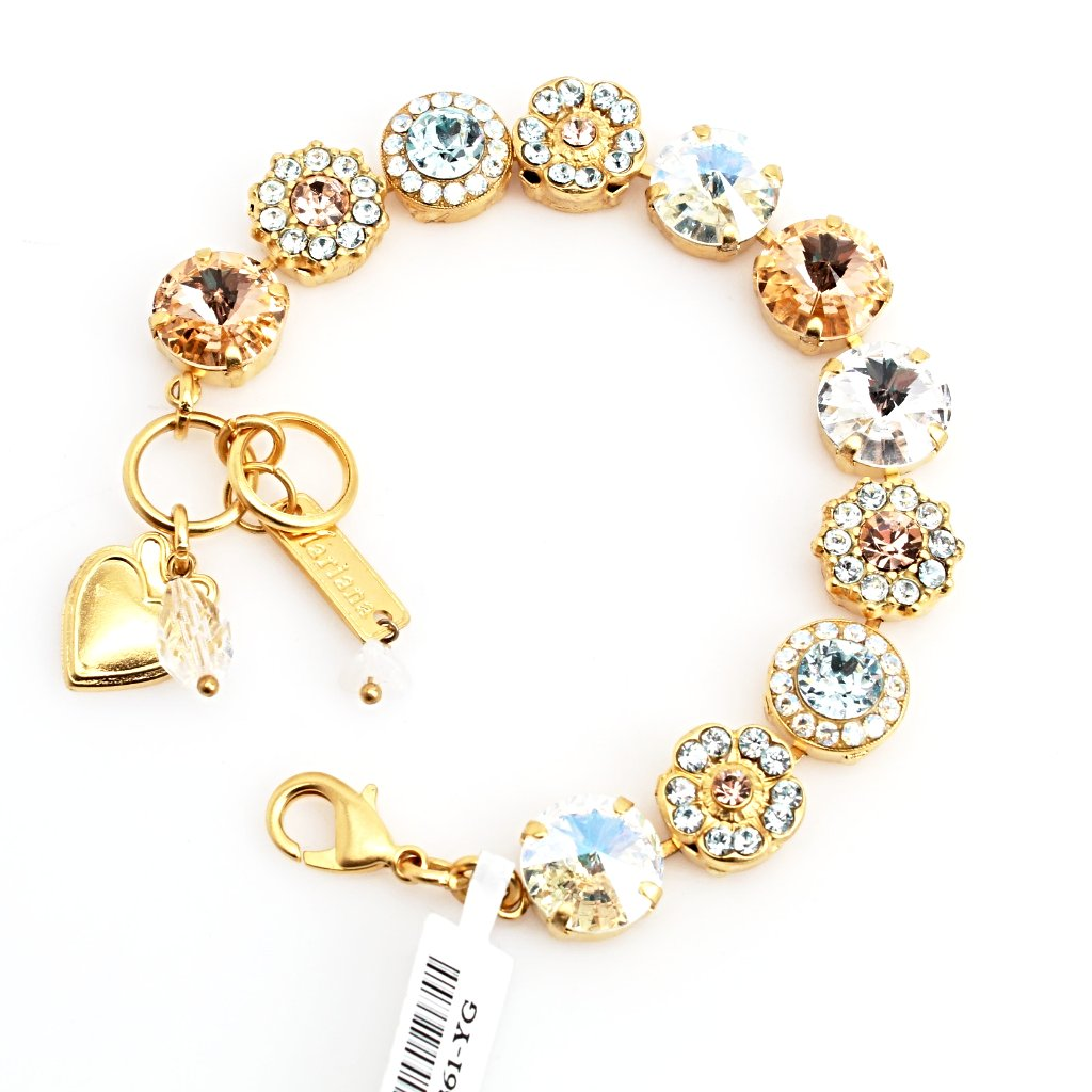 Moon Dance Large Rivoli Crystal Bracelet in Yellow Gold