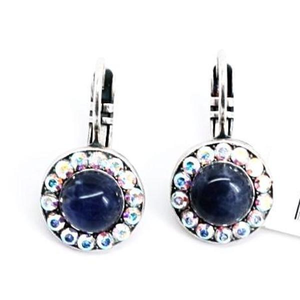Mood Indigo Round Mineral Crystal Earrings