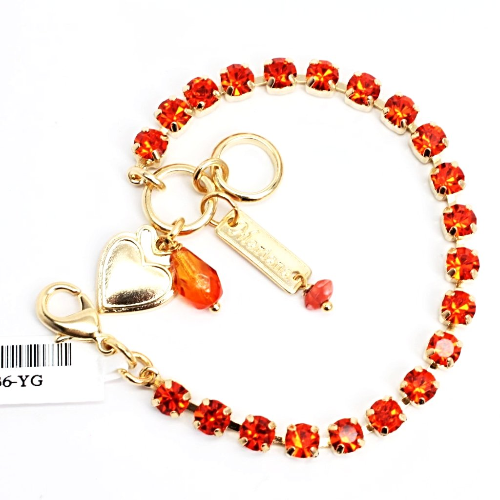 Orange Petite Crystal Bracelet in Yellow Gold