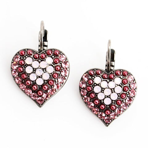 Antigua Heart Shaped Crystal Earrings