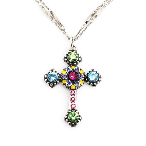 Cuba Collection Double Chain Cross Pendant Necklace