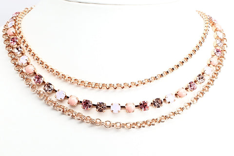 Antigua Triple Strand Crystal Necklace in Rose Gold