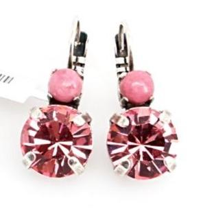 Powder Rose and Light Rose Large Double Crystal Earrings