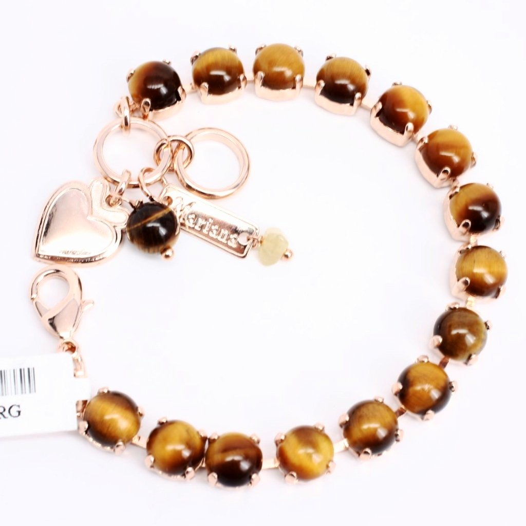 Gold Tiger Eye Medium Crystal Bracelet in Rose Gold
