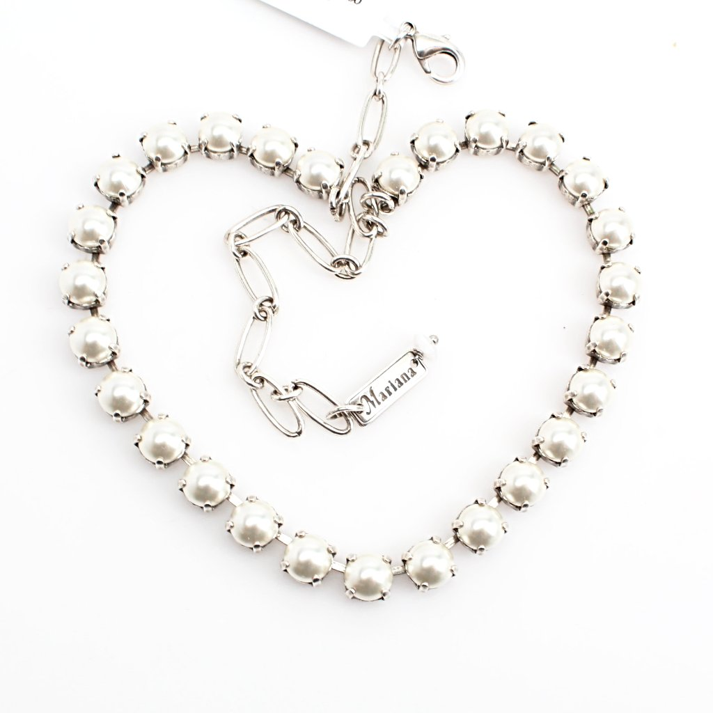White Pearl Medium Crystal Necklace