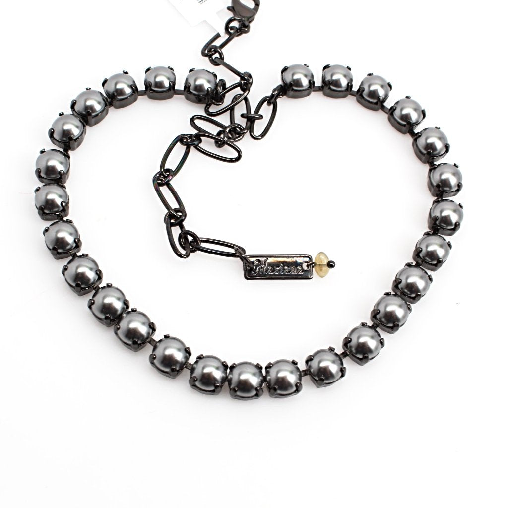 Dark Gray Pearl Medium Crystal Necklace in Black Gold