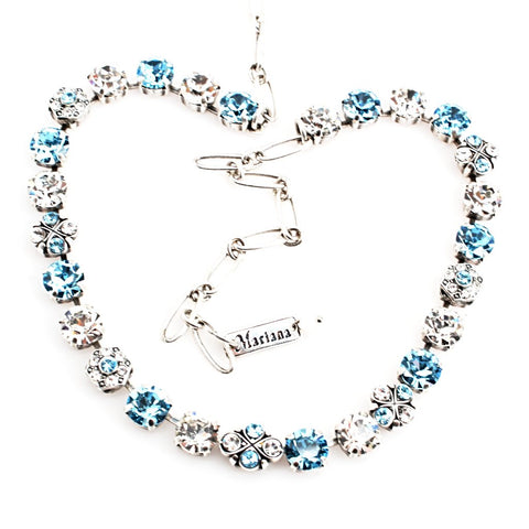 Aquamarine and Clear Medium Ornate Crystal Necklace